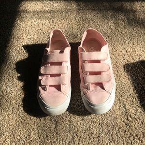 Baby pink velcro vans.